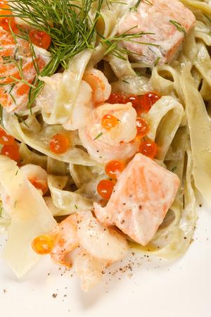caviar: pasta with salmon and caviar