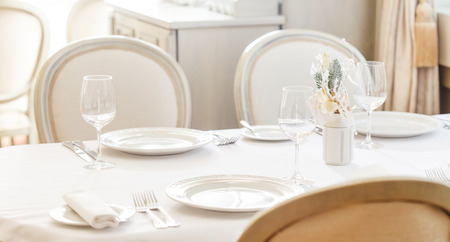 Tables set for meal Stock Photo