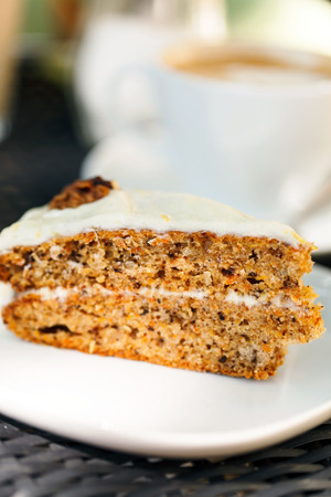 carrot cake: carrot cake with coffee Stock Photo