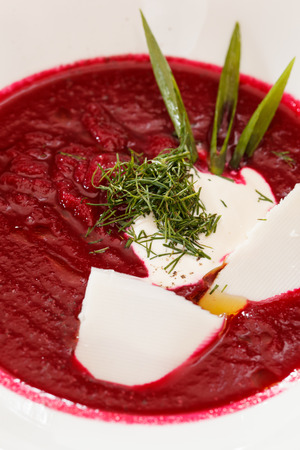 polish lithuanian: Cold beetroot soup Stock Photo