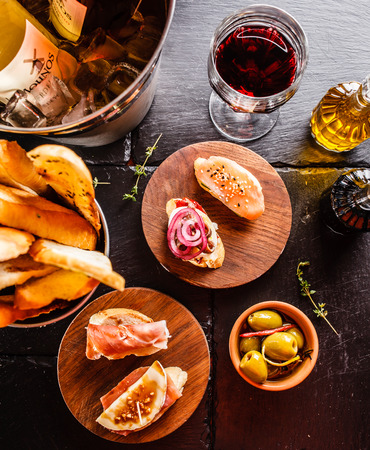 spain: Spanish dinner cooked and served on the table Stock Photo