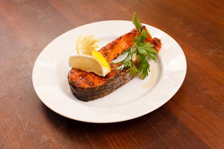 salmon steak: grilled salmon steak