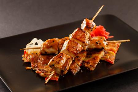 chicken fillet: grilled chicken skewers Stock Photo