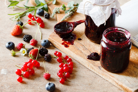 mixed fruit: Berries jam on the table