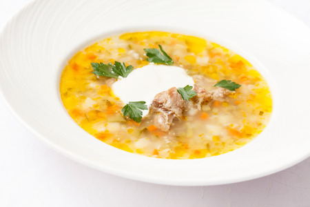 uk cuisine: soup with barley Stock Photo