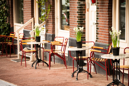 outdoor cafe in Amsterdam Stock Photo