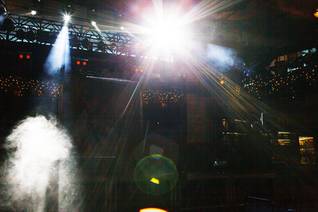 dramatics: concert stage with smoke