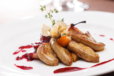 foie gras with sauce 스톡 콘텐츠