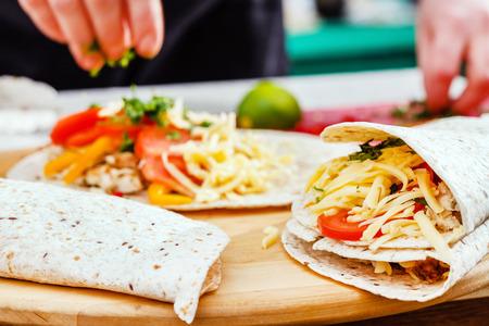 tortilla: chef making tortilla