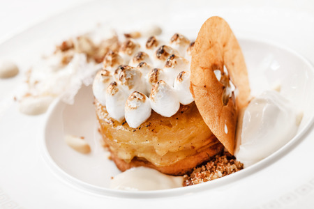 custard slices: apple cake with meringue Stock Photo
