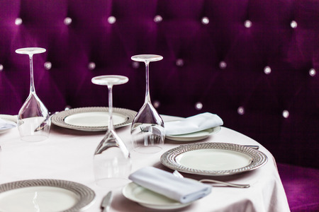 restaurant dining: table set for meal Stock Photo