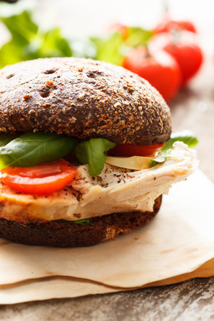 sandwich with chicken and cheese photo