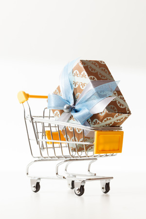 shopping trolley: Christmas presents in shopping trolley