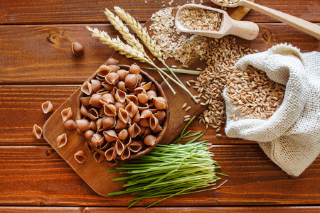 carbohydrates: whole wheat pasta Stock Photo