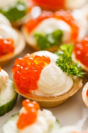 canape: canape with caviar Stock Photo