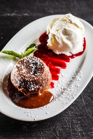 chocolate cake with ice cream Фото со стока
