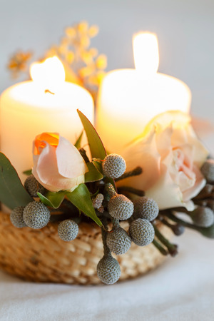 nice flowers and candle 写真素材