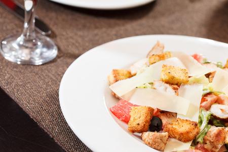 bacon bits: Ceasar salad Stock Photo