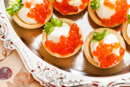 tartlet: canape with caviar Stock Photo