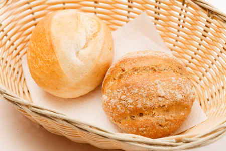 color photographs: buns in the basket