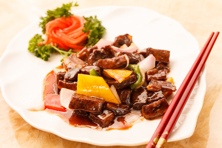 recipe decorated: beef with vegetables