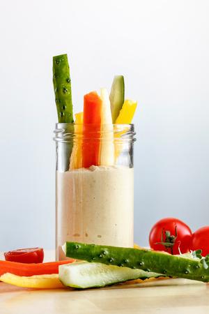 hummus: Hummus with vegetables Stock Photo