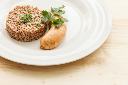 meat alternatives: buckwheat with sausage