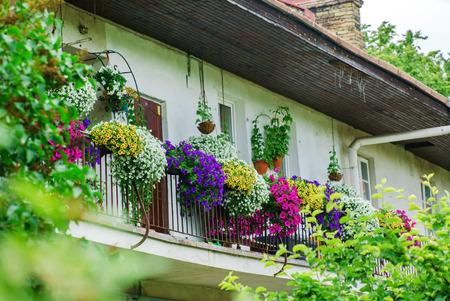 decorated balcony Stock Photo
