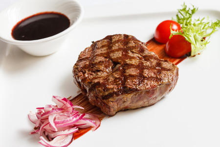 delicious: meat steak with sauce