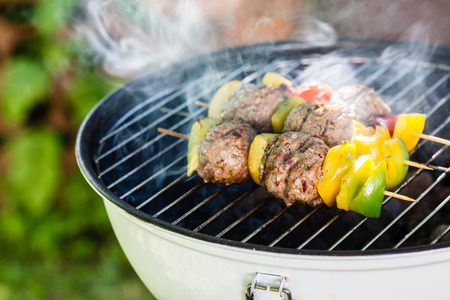 grilled vegetables: grilled meatballs with vegetables Stock Photo