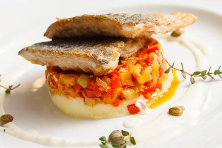 mashed potatoes: fried carp with mashed potatoes Stock Photo