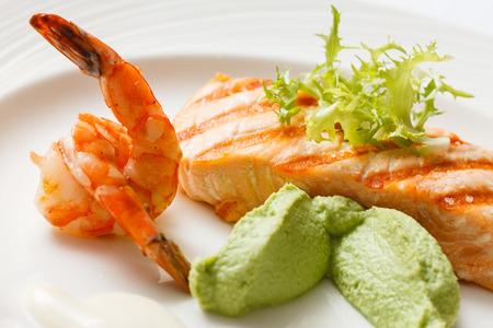 fish dinner: salmon steak
