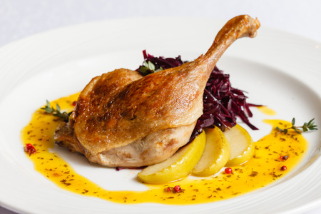 Roast duck with beetroot Фото со стока