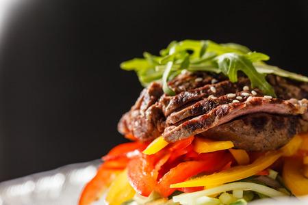 dinner plate: steak with vegetables Stock Photo