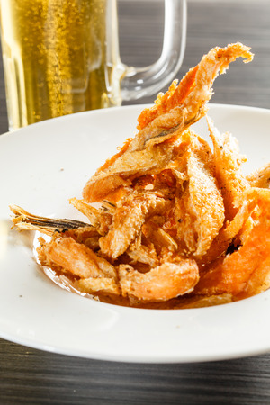 prepared shellfish: fried shrimps Stock Photo