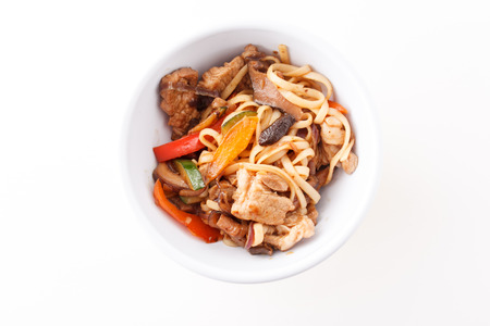 fa: noodle with meat and vegetables Stock Photo
