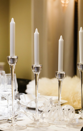 receptions: white candles Stock Photo