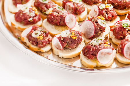 canape: canape with meat Stock Photo
