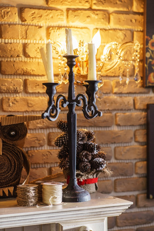 mantel: fireplace mantel Archivio Fotografico