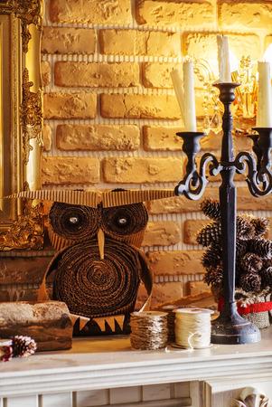 mantel: fireplace mantel Stock Photo