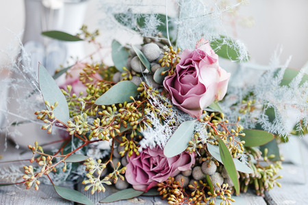 arreglo de flores: ramo romántico Foto de archivo