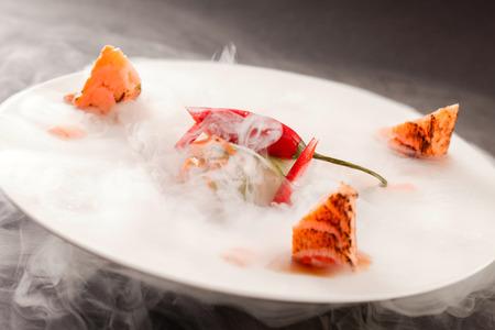 nitrogen: Liquid nitrogen treated salmon and chili pepper