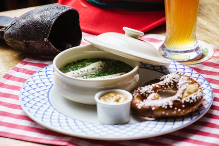 weisswurst: bavarian white sausage Stock Photo