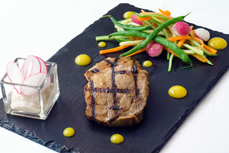 mouth watering: steak with vegetables Stock Photo