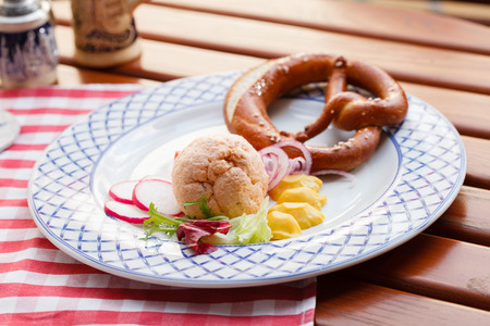 pate: bavarian pretzels with meat pate Stock Photo