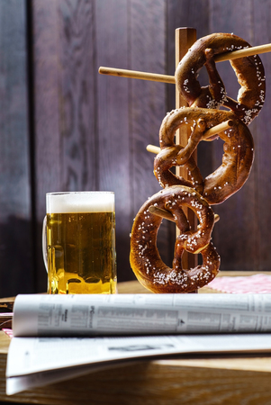 german culture: Beer and Pretzel, Oktoberfest Stock Photo