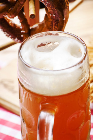 pretzel: Beer and Pretzel, Oktoberfest Stock Photo