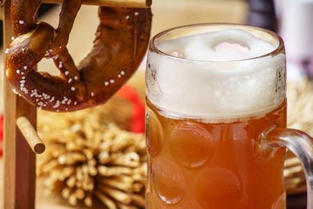 pretzel: Beer and Pretzel, Oktoberfest Stock Photo