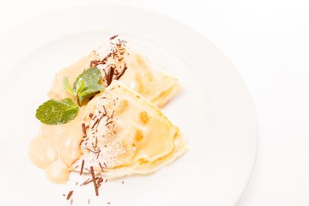 thin ice: pancakes with ice cream Stock Photo