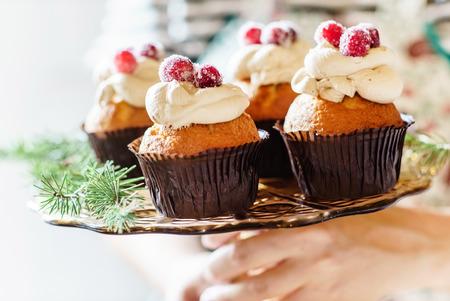 christmas cupcakes: Christmas cupcakes Stock Photo
